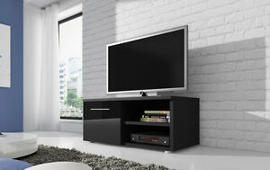 Meuble-TV-Armoire-Vegas-90cm-Corps-Noir-Mat-Noir-Brillant-Avant