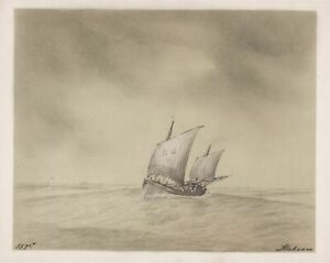 Schiff ship Segelschiff Segelboot boat Zeichnung drawing dessin 1875