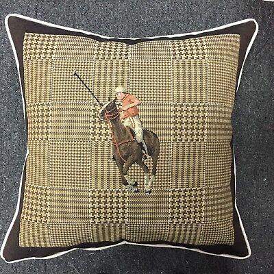 Pair of Polo Players Horse Riding Cushion Cover Sham