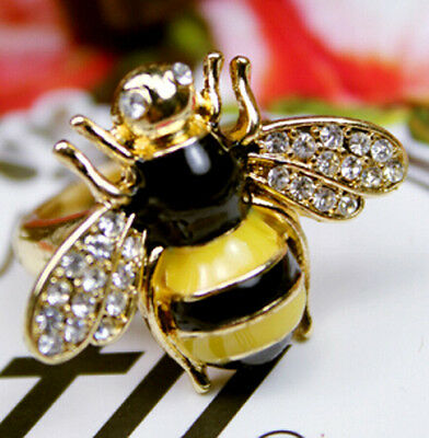 Exquisite Cute Silver Rhinestone Mini Queen Bumble Bee Ring Gift Adjustable Size