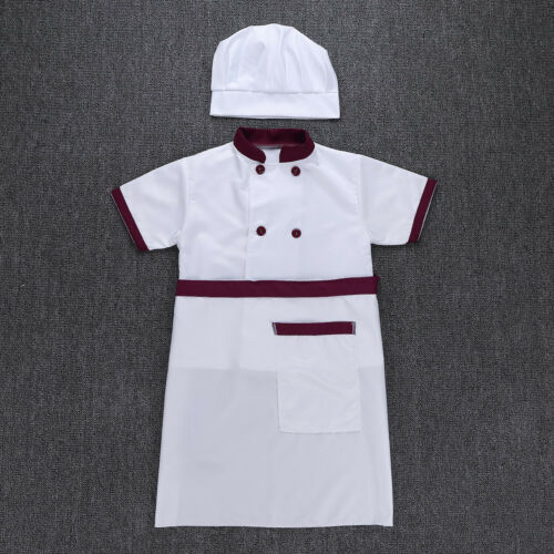 Unisex Boys Girl Cook Chef Outfit Halloween Fancy Costume Cosplay Party 4pcs//Set