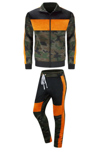 New Men 2 Tone Track Set Camo Colors Hip Hop Jogger Pants Jacket Sizes Slim Fit