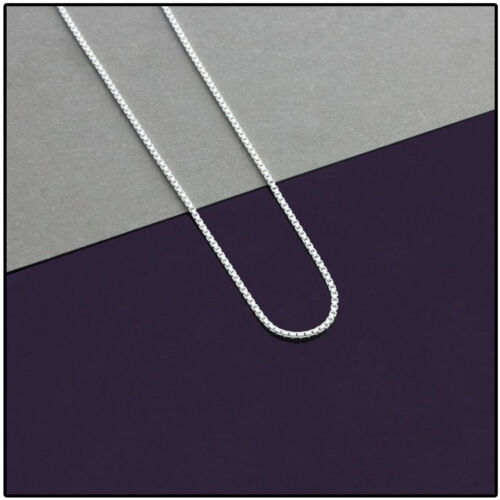 """24/"""" Mens Womens 10K Real White Gold Box 1MM Italian Chain Necklace 16/"""""""