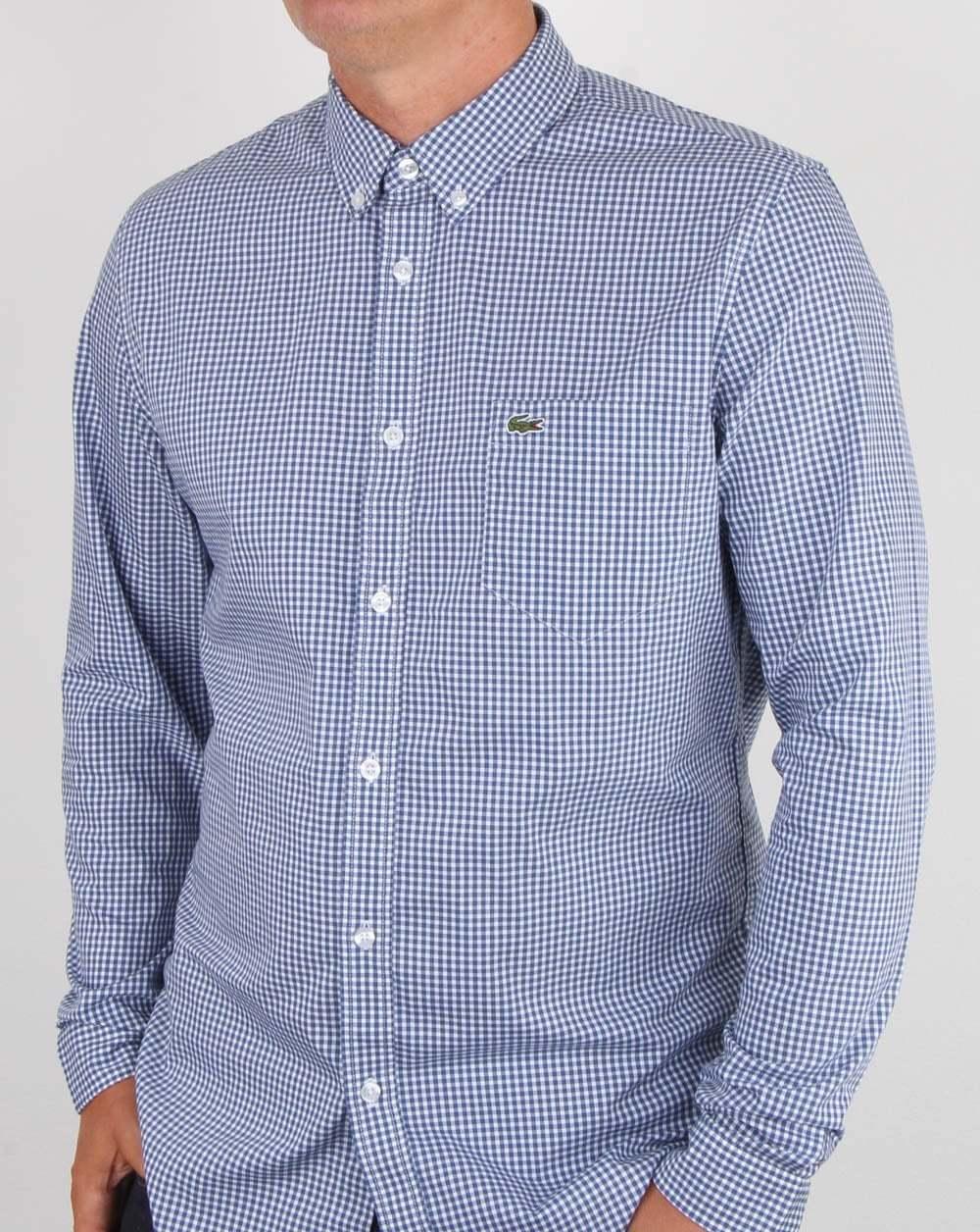 LACOSTE Check Camicia a Maniche Lunghe in Blu & Bianco-Percalle di Cotone