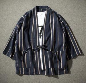 Men Linen Cotton Japanese Kimono Stripe Cardigan Coat Outwear Top Jacket Yukata