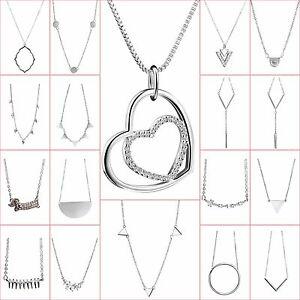 New-Brand-Sterling-925-Silver-Necklace-Chain-Pendant-Charm-Fashion-Woman-Jewelry
