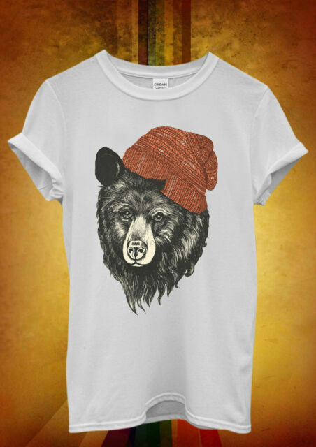 Bear with Beanie Hipster Cool Funny Men Women Unisex T Shirt Tank Top Vest 606