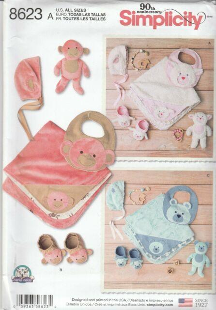Simplicity Sewing Pattern 8623 Baby Accessories Bear Blanket Booties Bib Hat