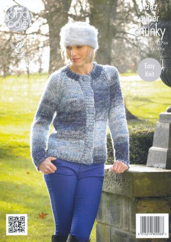 King Cole Ladies Super Chunky Knitting Pattern Round V Neck Cardigan Jacket 4287