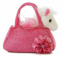 Horse Toys For Girls Cute Pony Fancy Pal Stuffed Animal With Pink Carrier Purse