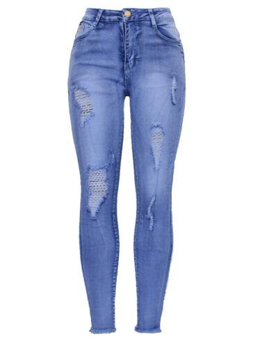 NUOVA LINEA DONNA STIVALETTI BLU EFFETTO INVECCHIATO STRAPPATO DISTRUTTO Fashion Skinny Denim Jean