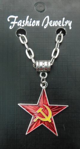 "20/"" or 24 Necklace /& Hammer /& Sickle Red Star Pendant Communist Socialist USSR"