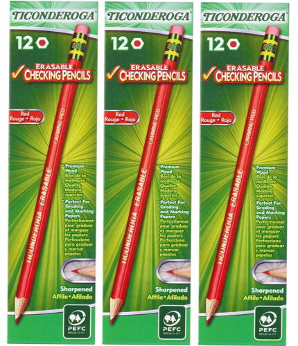 36 Pcs Ticonderoga Erasable Checking Pencils with Eraser Carmine Red Lead 2.6 mm