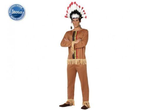 Déguisement Homme Chef INDIEN marron S costume Western Cowboy NEUF Pas cher
