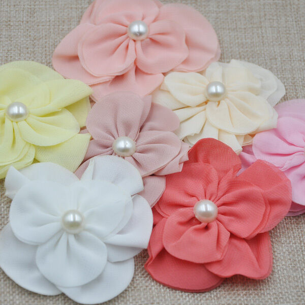 7pc Upick Organza Ribbon Flower Appliques wedding Sewing Big flower E09