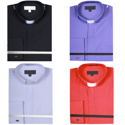 Men/'s Solid Color Tab Collar Clergy Shirt