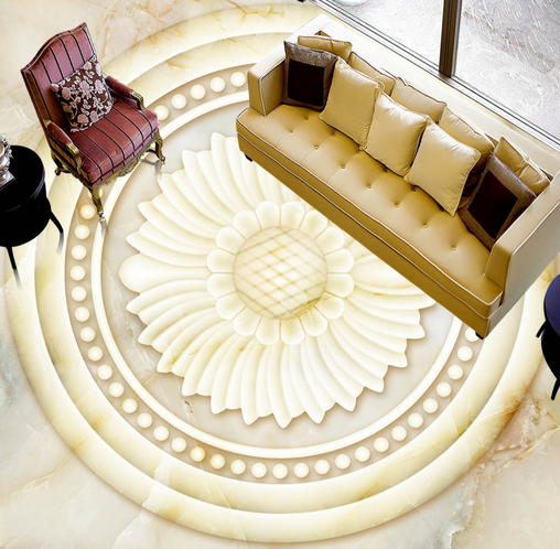 3D Round Weiß Floral 77 Floor WallPaper Murals Wall Print Decal AJ WALLPAPER US