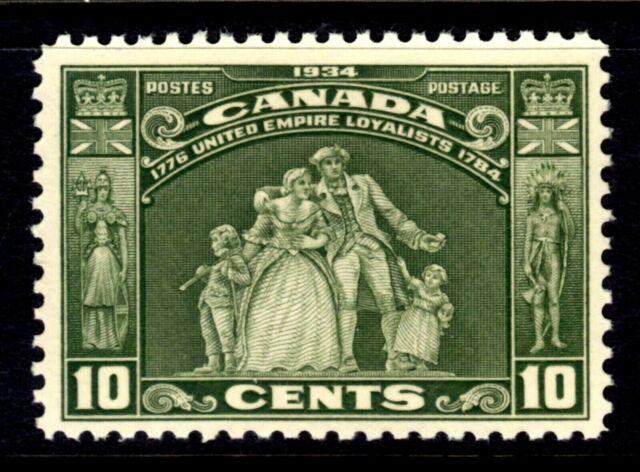 CANADA #209 10c OLIVE GREEN, 1934 LOYALISTS STATUE, MNH