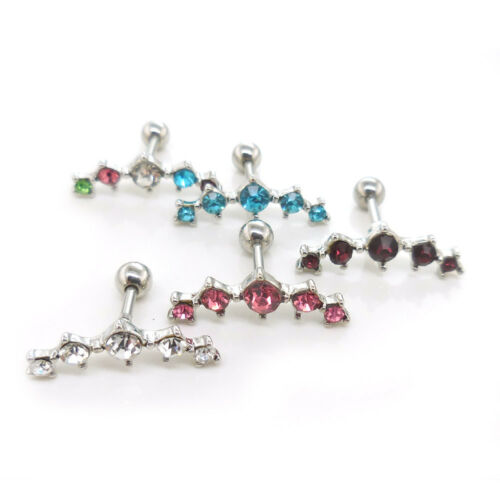 316L Surgical Steel Ear Cartilage Tragus Ring 5 Stone Earring 16G 6mm Ball Back