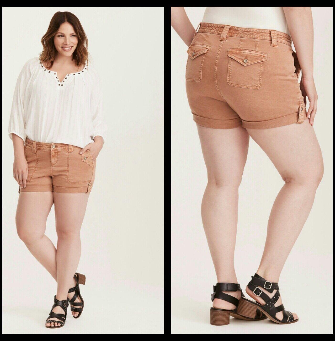 Torrid Plus Size 14 Military Short Shorts - Peach Wash (ZZ9)