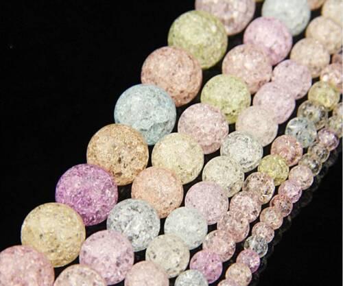 """1 Strand 15/"""" Coloré Craquelé Ronde Spacer Perles en Verre Bijoux Making Wholesale"""