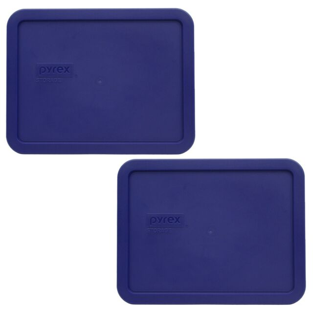 Pyrex 7212-Pc 11 Cup Dark Blue Rectangle Food Storage Lid 4 Pack