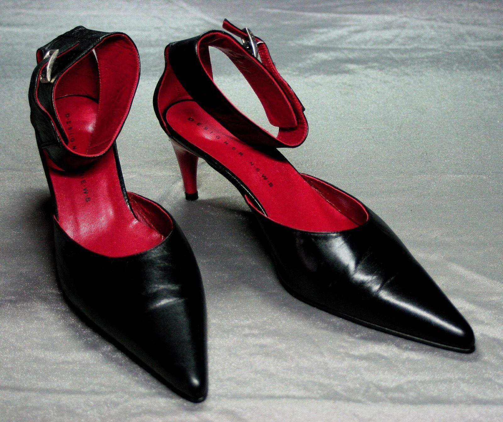 Pumps D.e.s.i.g.n.e.r. N.e.w.s.schwarz-rot Leder Knöchelriemen Gr.40  Absatz 7cm
