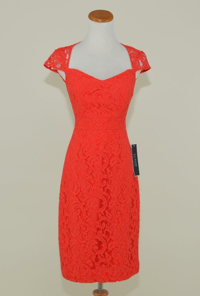 J.CREW  TINSLEY DRESS IN LEAVERS LACE 6 POPPY rot BRIDESMAID PARTY DRESS
