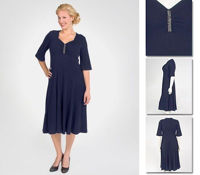 NEW Zaftique ELEGANT RHINESTONE Dress NAVY bluee 1Z 4Z   16 28   XL 1X 4X
