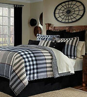 Cremieux Wesley Quilted Plaid Black White Charcoal Grey King Shams (1) 1q
