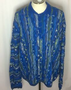 Coogi-Australia-Mercerized-Collared-Sweater-Tupac-Biggie-Hip-Hop-Sz-4XL-Blues