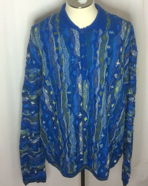 Coogi Australia Mercerized Collared Sweater Tupac Biggie Hip Hop Sz 4XL Blues
