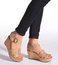NEW 🌹Clarks🌹Size 4.5 Caslynn Harp Tan Beige Leather Wedge Sandals (EU 37.5)