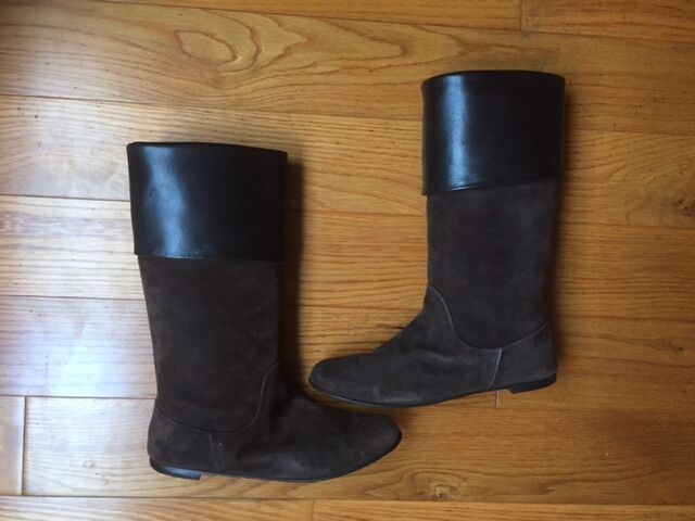 NWOB Anthropologie Tapeet By Vicini Suede Leather Roll Up Boots 7M, ITALY