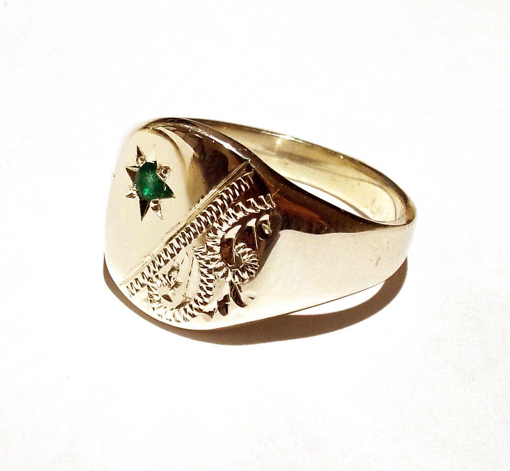 Signet Ring Emerald Men's Solid gold Gent's UK Hand Made Hallmarked Cushion