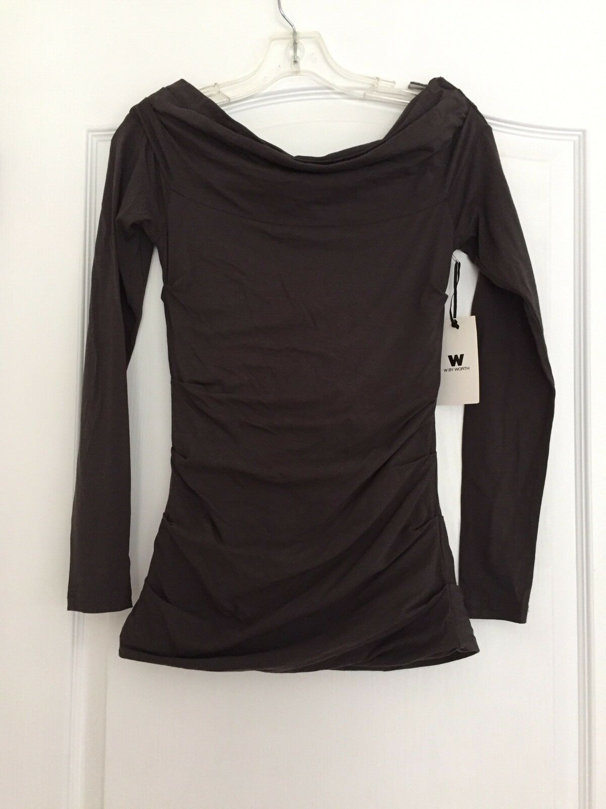 W BY WORTH Woman's Ruched Stretch Top color  Carbon Size Small NWT