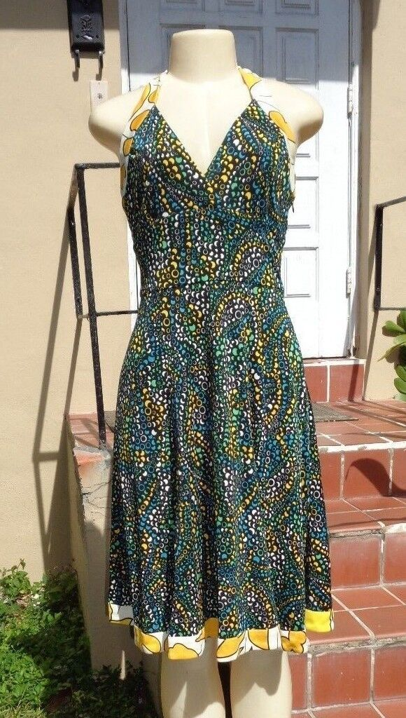 ISSA LONDON MULTI COLOR SILK MOON PHASES PRINT HALTER STRETCH CASUAL DRESS Sz 6
