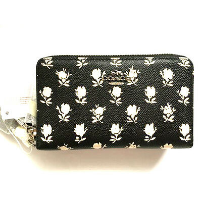 NWT COACH Black Leather Wildflower Corner 2 Zip Wristlet Wallet 63406 ID Phone