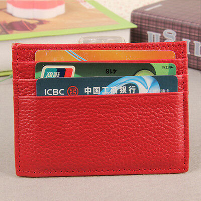 Women/Men Genuine Leather Small Credit Card Wallet Holder Mini Purse Slim Case