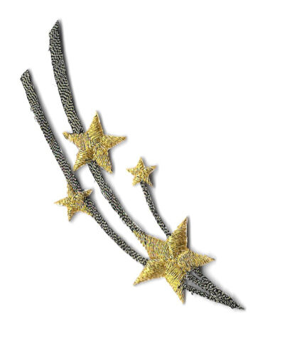 Celestial Embroidered Antique Gold /& Gold Iron On Patch Shooting Stars