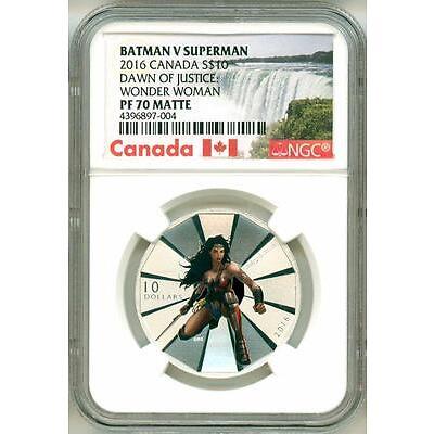 2016 S$10 Canada Batman V Superman Dawn Of Justice Wonder Woman NGC PF70 Matte