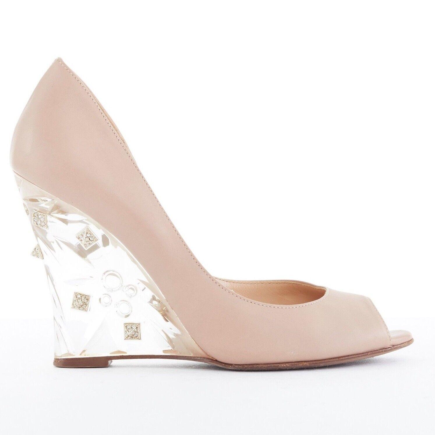 trova il tuo preferito qui VALENTINO Naked Rockstud clear crystal paved stud wedge peeptoe peeptoe peeptoe heel scarpe EU37.5  distribuzione globale