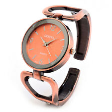 Geneva Brushed Finish Copper Metal Large Face Women's Bangle Cuff Watch