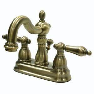 4 centerset bathroom sink faucet vintage antique brass - Antique brass bathroom faucet centerset ...