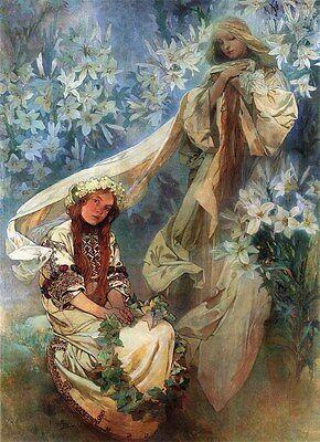 North Star di Alphonse Alfons Mucha Art Nouveau Deco Immagine Poster Stampa New