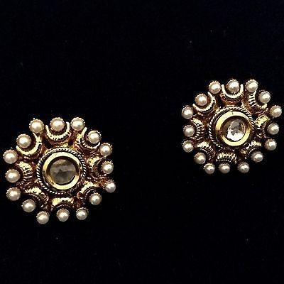 Kundan flower South India ADIVA pearl copper stud traditional earring ab131w