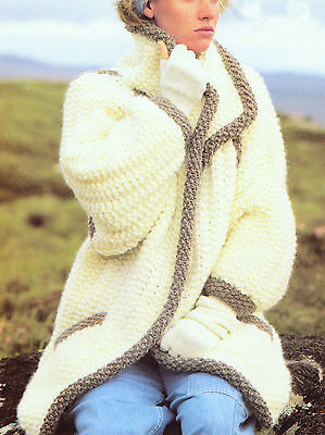 Ladies coat / jacket aran knitting pattern 99p