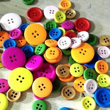 100pcs Mixed Color Size Wodden Bottons 4 Holes Cloths Sewing Crafts Accessories