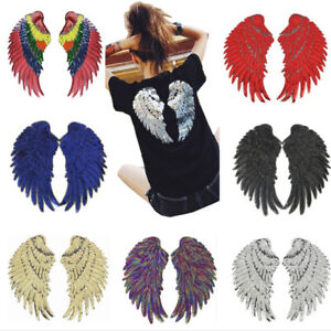 1Pair-Decor-Iron-On-Embroidered-Patch-Large-Angel-Wings-Applique-Motif-Sequins-H