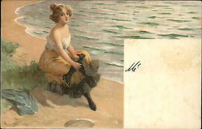 Bathing Beauty Sitting on Beach c1905 Postcard